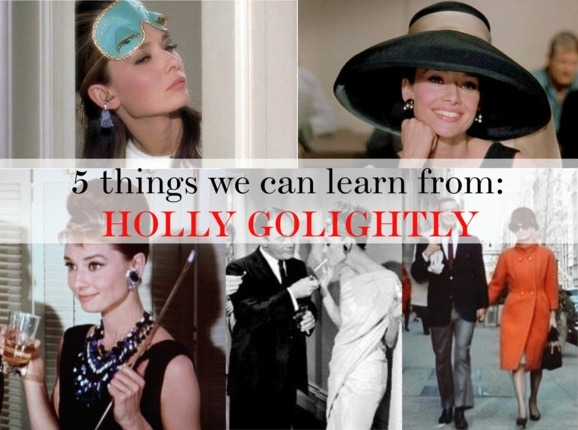"5 things we can learn from: HOLLY GOLIGHTLY After being quarantined in my home for a week due to Pharyngitis :/ I spent my rainy days indoors, curled up in bed with my laptop, and a pile of old movies, which included one of my favourites; Breakfast at Tiffany's! starring the beautiful and elegant, Audrey Hepburn and it occurred to me, ""I have never written a post about Tiffany's or my dear Audrey! I must solve this!"" and here we are :) so without further ado, here is a list of 5 things I have learnt from Miss Golightly! 1. An LBD isn't just for the evening! - In the very first scene of BAT's, we see Holly indulging in some coffee and a pastry whilst gazing at the treasures in Tiffany & Co's display window in the early hours of the morning in a long LBD. The misconception most ladies of today have is the belief that an LBD is just for the after hours, Holly disproves and shows us how to drop the LBD day time look, in style. 2. Always make an effort - Who can forget about the satin blue sleep mask? Truly iconic to be honest, as well as glamorous! Seeing Holly in her lounge wear whilst I was vegging out in my ancient tee and shorts made me feel slightly rubbish, LOL! Plus, going to bed looking like a mini VS angel will probably make you feel better in the morning 3. Staple Sunglasses - Some people regard sunglasses as an accessory, but to Holly, these were essential to running her errands, and it just finished off each and every one of her looks! I found these cute substitutes from ASOS for just £12, and they look a lot like Holly's!  4. You must have 'everyday lippy' - When she first met Paul (Fred) to when she got busted out of jail, Holly always had her trustee lipstick, and it was just perfect for her skin tone, so finding the perfect lipstick shade is important! 5. Its not a crime to window shop - Although Holly didn't buy anything at Tiffany's, window shopping did kind of motivate her to better herself, and its true, seeing things you want (i.e a car, a house, a pair of Daffodil Louboutins) and dreaming motivates and keeps the positive energy flowing! Have you learnt anything else from Holly? XO, TDR ♥"