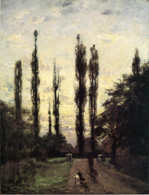 artandopinion:  Evening Poplars 1885 Theodore Clement Steele