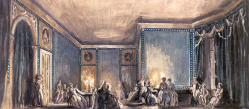 adriat1c:  Alexandre Benois - The scene of the ball. Set Design for Tchaikovsky's opera
