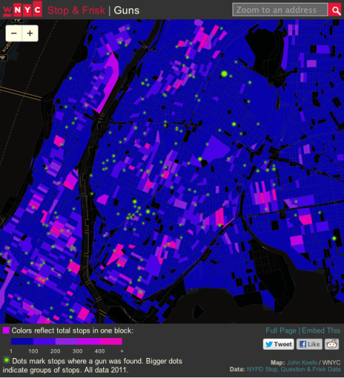 "wnyc:  Click image for interactive map. Using data from the New York City police department, WNYC mapped all street stops by police that resulted in the recovery of a gun last year. The map shows an interesting pattern. We located all the ""hot spots"" where stop and frisks are concentrated in the city, and found that most guns were recovered on people outside those hot spots—meaning police aren't finding guns where they're looking the hardest. Full Story.  The Copy Editor: Wants to map until it hurts, WNYC-style. Next year, perhaps."