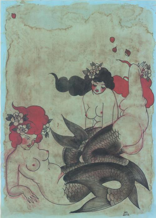 jackiedunnsmith:  three mermaids, jackie dunn smith