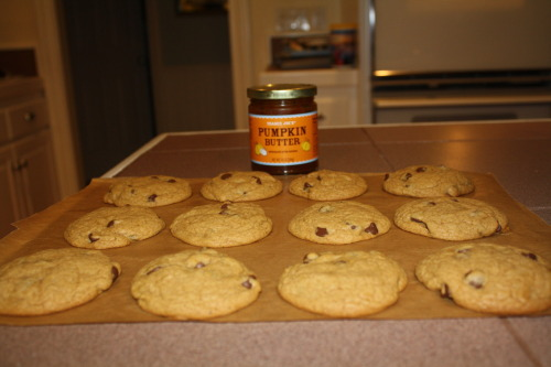 Pumpkin chocolate chip cookies! I love everything pumpkin and this is amazing.  I used pumpkin butter to provide the flavoring which I bought at Trader Joes, but I'm sure you could find it other places as well or just use the standard pumpkin in a can strategy.   Recipe: http://www.howsweeteats.com/2011/10/chewier-pumpkin-chocolate-chip-cookies-2-ways/