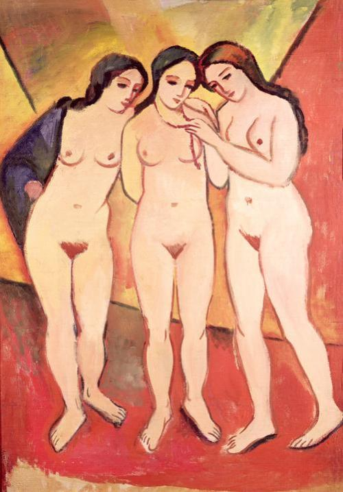 Three Naked Girls by August Macke, n.d