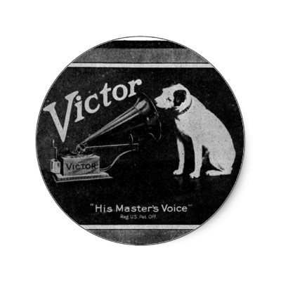 """his master's voice"" - never realize that was the slogan for the dog and the phonograph. great choice to say ""master quality sound"""