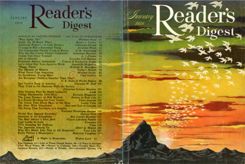 "digestart:  Reader's Digest front and back cover, January 1956 Illustration: ""Dawn, 1956"" by Allen Saalburg Saalburg (1899-1987) worked extensively in magazine illustration and in advertising. He also did mural painting, including WPA mural activity in New York in 1930s."