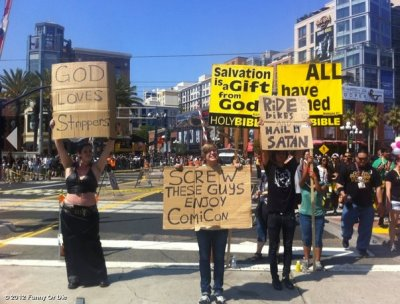 funnyordie:  Comic-Con 2012 Every year religious protestors gather outside Comic-Con. These folks made their own signs and joined them.