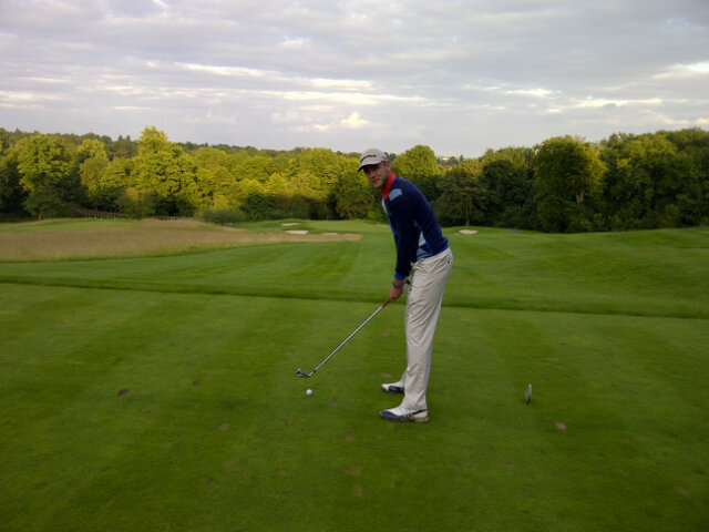 Stuart Broad getting his golf on at the Grove Hotel.