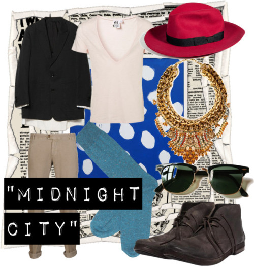 """Midnight City"" by brelly featuring a wide brim fedora hatLow toptopman.comBrunello Cucinelli straight leg pantsthecorner.comSocks$6.19 - topman.comDannijo antique gold jewelrydannijo.comPaul Smith wide brim fedora hatstylebop.comMARSELL Suede Desert Bootmonamoore.com"