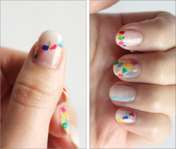 truebluemeandyou:  DIY Squares and Triangles Nail Art Using Opi's Don't Touch My Tutu! from Small Good Things here. Go to the link for more links on diy decals and gradient nails.