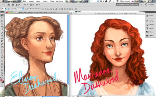 flomino:  Currently illustrating the Dashwood sisters for a Jane Austen game commission!  Ooooo