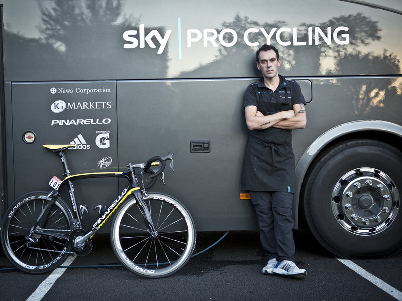 Team Sky Head Mechanic, Diego (via Team Sky | Pro Cycling | Photos | Scott Mitchell stage 14 gallery)