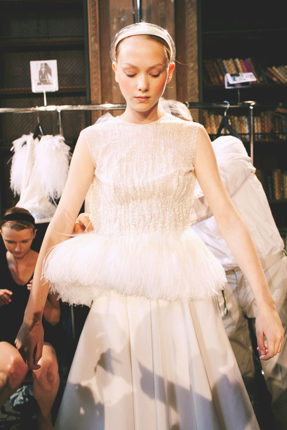 backstage at christopher josse haute couture, fall 2012