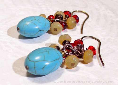 New earrings with magnesite, yellow opal and czech crystals. For sale here.