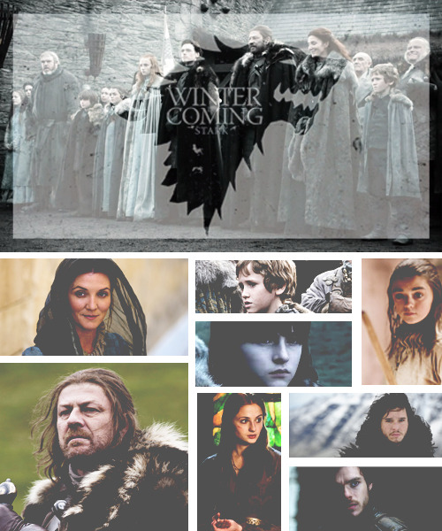 The Starks are an ancient house, descended from Bran the Builder, a legendary figure from the Age of Heroes, who raised their ancestral home at Winterfell thousands of years in the past, as well as the Wall. They are descendants of the First Men and still follow some of their ancient traditions and the Old Gods of the forest.   TVmeme - [1/3 Families]