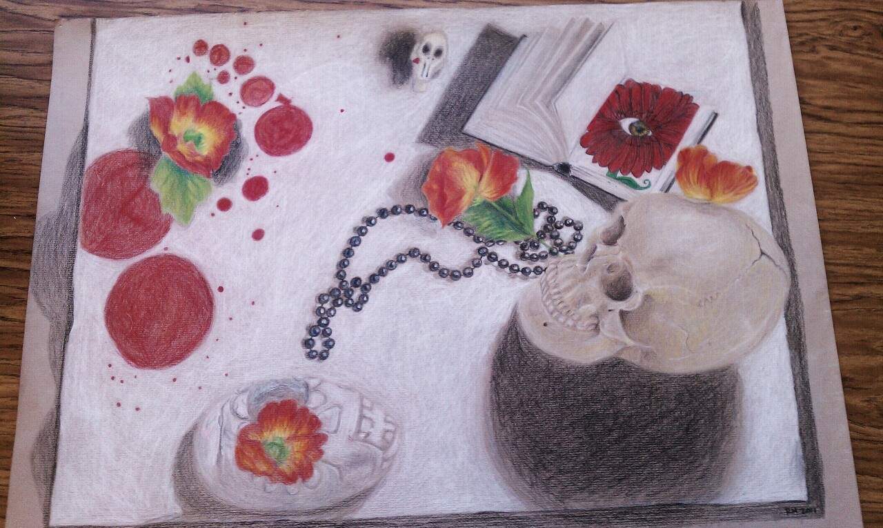 Still life in colored pencil on toned paper
