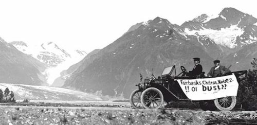 The first car to travel along the Richardson highway from Valdez, AK to Eagle, AK, 1913.