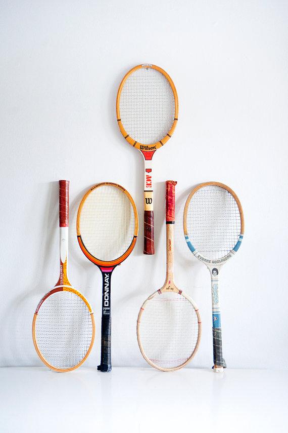 brightwallvintage:  (via Vintage Tennis Rackets // Five Available by BrightWallVintage)