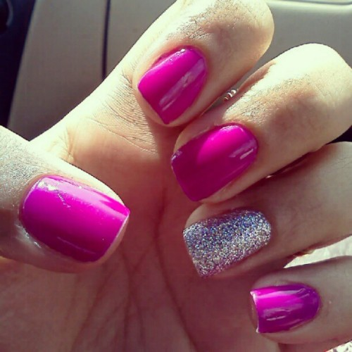 Neon purple love. #ManiMonday #nailart #nails #instanails #polish #design #neon #purple #glitter #instagood  (Taken with Instagram)