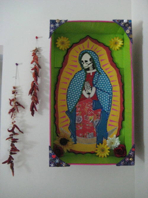 Our Lady of Guadalupe Skeleton Shrine: Grace's latest piece