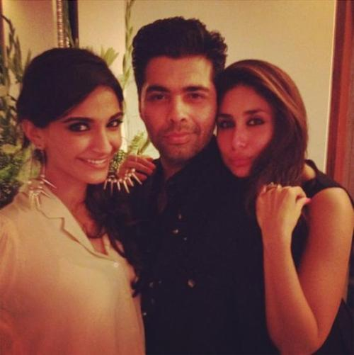 Kareena Kapoor , Sonam Kapoor & Karan Johar spotted together Is kareena kapoor trying to do the duck face? or is she trying to make her mouth shaped like Nargis Fakhri? No idea