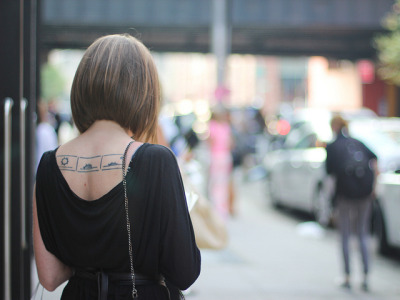 This sunset tattoo is a perfect way to close the day…Meatpacking District, NYC (via Amy Creyer)