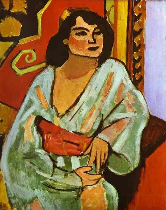 "Henri Matisse. The Algerian Woman. 1909. Oil on canvas. Musee National d'Art Moderne, Centre Georges Pompidou, Paris, France The depiction of the Middle East has, since Edward Said's Orientalism, often been approached in binary terms and in the framework of ""power/knowledge"" in the tradition of Friedrich Nietzche and Michel Foucault. There is, however, an argument to be made for the Middle East as an influence on European modernity, not just the other way around. When one moves away from politics and economics to culture, power/knowledge becomes more ambiguous. People have multiple identities, and appropriate from various sources, and are changed by their influences. Goethe was clearly deeply changed by his encounter with the Persian poet Hafez, something that Said's approach kept him from seeing. French painter Henri Matisse, who came to prominence as a post-expressionist and then leader of a school called Fauvism (which rejected Picasso's cubism), was deeply influenced by Japanese painting, as well as by his experiences in North Africa. Some of his famed striving for serenity probably has at least implicit roots in the Sufism and Buddhism of his influences. European Modernism is often treated as a European phenomenon, but it was global, and Africa and Asia played big roles in it.  Matisse: ""Algerian Woman"" (Painting)"