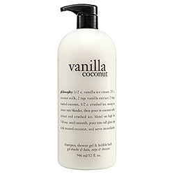 Product Shout Out! Buy it HERE! Philosophy Vanilla Coconut Shampoo, Shower Gel & Bubble Bath What it is:A multitasking formula for hair and body with the absolutely delicious scent of pure paradise. What it does:Hop in the shower and escape to a tropical island with this three-in-one formula that cleanses and conditions, leaving skin and hair super soft. Infused with the fresh essence of pure, sweet coconut juice and a hint of sugary vanilla, this foaming lather is the ultimate refreshment for total rejuvenation. Suggested Usage:-Apply to wet body or scalp. -Lather, rinse, repeat. -If using as a bubble bath, drizzle a generous amount under running water and enjoy. Precautions:-For external use only. -Use only as directed. -Discontinue use if irritation occurs. -Avoid direct contact with eyes. -Keep out of reach of children. Source: Sephora