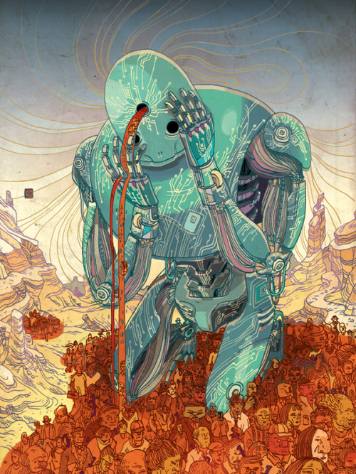 "darksilenceinsuburbia:  Victo Ngai. CW Cover - Cobol Braindrain. Cover illustration for the ComputerWorld magazine about the Cobol Braindrain. When the last Cobol programers retire, 50 years of business processes within the softwares they created may be lost. I was playing with the term ""braindrain, and came up with the idea of a giant creature mourning over the lost of his precious programer blood from his third eye (the gateway to higher consciousness and knowledge). (from the artist site) On Tumblr: http://victongai.tumblr.com/"