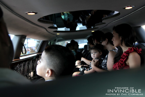 My children, Geo and Kaia, with friends and family in the back of the limo on the way to the premiere of our film, Invincible!