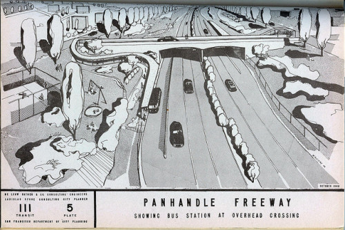 San Francisco: Panhandle Freeway (1948) by Eric Fischer on Flickr.this would've run through my current place… good thing it never happened.