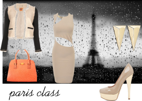paris class by magbabe featuring alexis bittar jewelryNude dress, $160 / Tory Burch collarless jacket, $805 / Alejandro Ingelmo platform shoes / Satchel bag / Alexis Bittar  jewelry