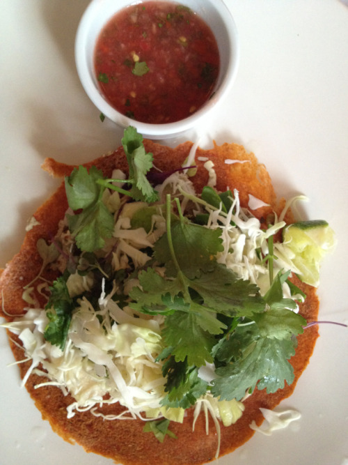 Raw Walnut Chorizo Tostada @ Six Main