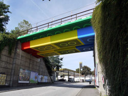 "Bridge transformed into giant lego bricks by German street artist ""MEGX""."