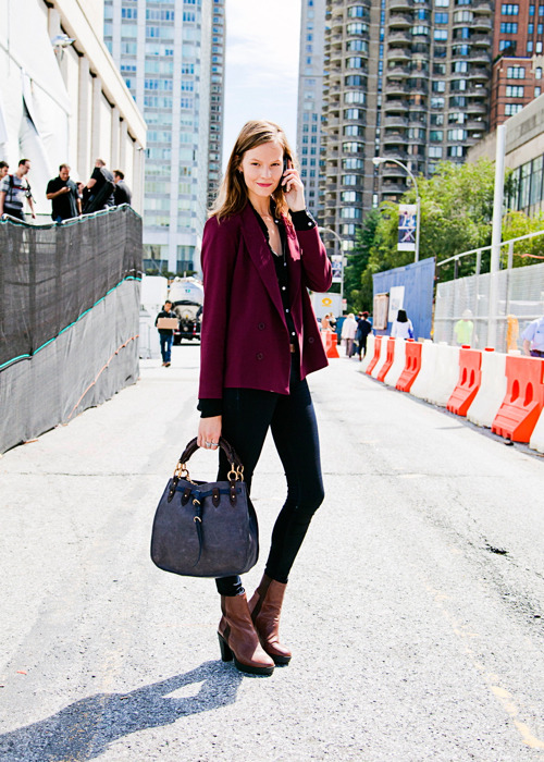 Sara Blomqvist (in) Model's Street Style After Richard Chai SS 2012…<3 — Follow Bonae L'amour on facebook | twitter | bloglovin'…