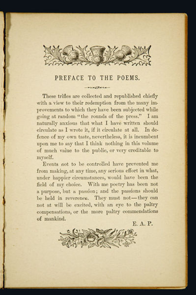 "Poe Preface…. introducing a few ""trifles."""