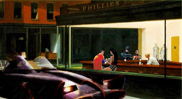 Hell yeah superman n wonder woman edward hopper s for Diner painting