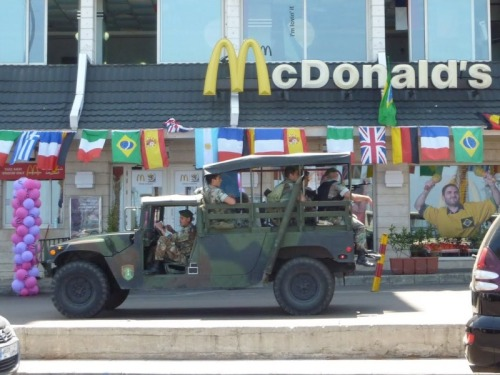 Soldiers got to eat… Lebanese soldiers driving past a McDonald's. On a less serious note I feel like since McDonald's is basically everywhere in the world, if they had a Special Forces unit, they could respond anywhere at anytime. The Burger Brigade…the Super Size Me Commandos…Ronald's Rangers. Okay I'm done.  It's scary cuz it's true! Hahahaaa!!! ;)