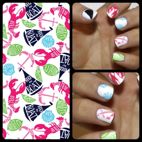 "ilikepaintingmynails:  Lilly Pulitzer ""Summer Classics"" Manicure  So summer & loving it"