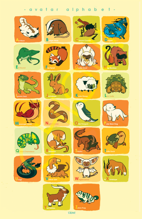 Finally posting the Avatar Animal Alphabet print. Originally drawn for AX 2012 :) And as requested, you can find print sales here > chiou@storenvy
