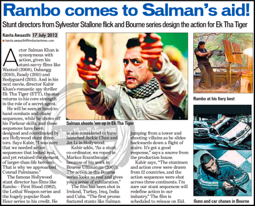 ★ Rambo comes to Salman's aid! Stunt directors from Sylvester Stallone flick and Bourne series design the action for Ek Tha Tiger… !!