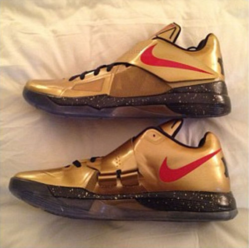 Nike Zoom KD IV - Gold a look at another Nike Basketball colourway for the Olympics.  Metallic Gold uppers with a Red Swoosh and Black/Gold speckled midsole. not sure if these are making it to retailers, but stay tuned for info Related articles Nike Zoom KD IV 'Rogue Green' - Now Available at Finish Line (sneakerfiles.com)