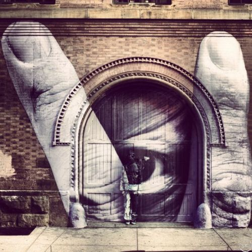 JR - JR x Liu Bolin (2012) In March 2012, in NYC on the 11 Spring Street building (a landmark for street art), JR collaborates with Chinese artist Liu Bolin and becomes invisible in front of a pasting of Liu Bolin's eye. view video here