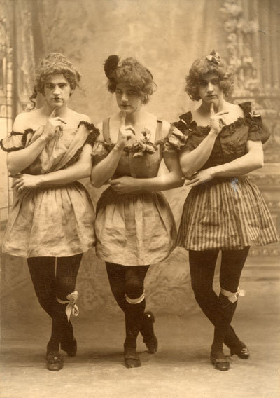 three Yale students in drag, c. 1883.