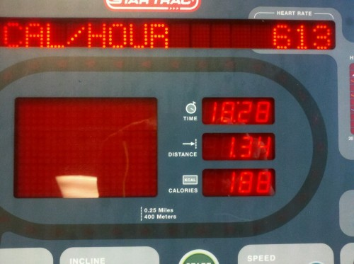 My longest continous run EVER… at a level 2 incline at 4.4 mph..I reset the treadmill after my warmup !woohooo ove 18 minutes of jogging!…my legs could have done more but my abs called a time out!  triathlon here I come!