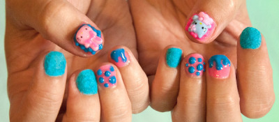 Cute hello kitty and texture nails! (via Bec S. | Beautylish)