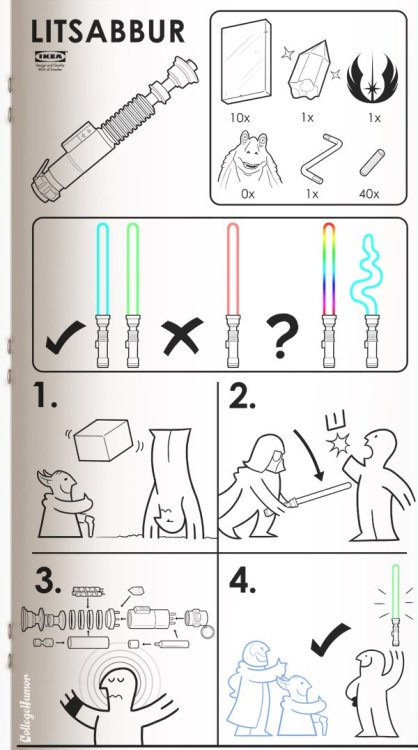 thealmighty-thorgasm:  IKEA's how to build a lightsaber.  LOL at the number of Jar Jars needed.