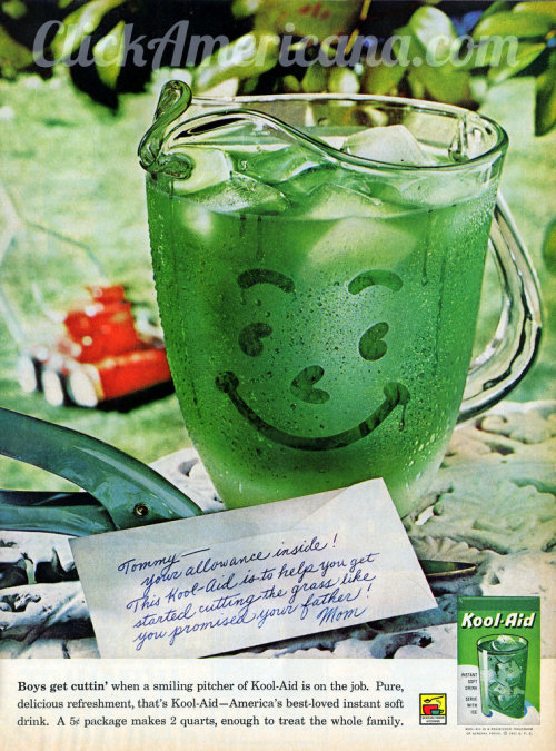 Lime Kool Aid for Tommy… but only if he mows the lawn! (Ad from 1961)