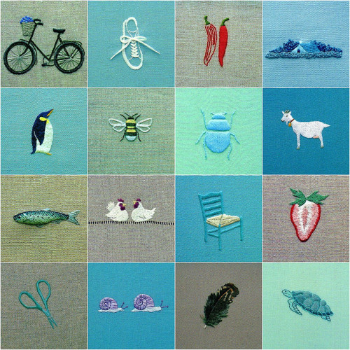 ellaminnowpeas:  Mosaic of embroideries by Townmouse on Flickr.