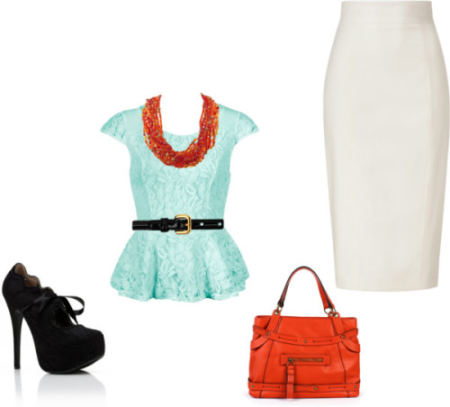 cutie patootie by magbabe featuring peplum topsPeplum top / Pencil skirt, $695 / High heel shoes / Jessica Simpson  handbag / Diamond jewelry / Prada bow belt, $300