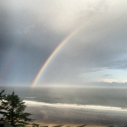 Morning rainbow over the Pacific Ocean.  (Taken with Instagram)